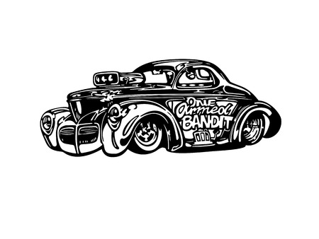 Vector retro hotrod car clipart cartoon Illustration.