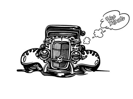 レトロなホットロッド車アート漫画イラストをベクトルします。ビンテージ クラシックカー 写真素材 - 81040312