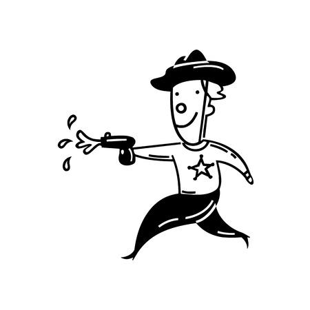 Boy playing water gun cartoon