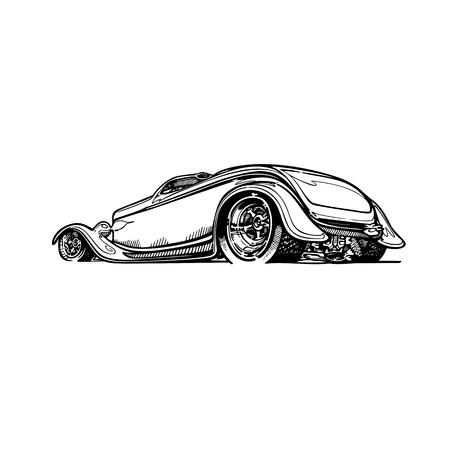 レトロなホットロッド車アート漫画イラストをベクトルします。ビンテージ クラシックカー