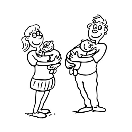 mom dad hold baby. outlined cartoon drawing sketch illustration vector.
