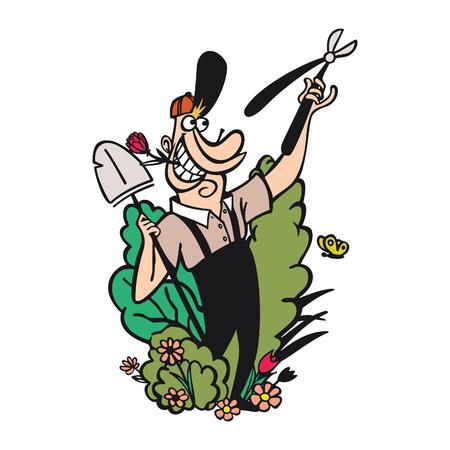 Gardening cartoon characters.