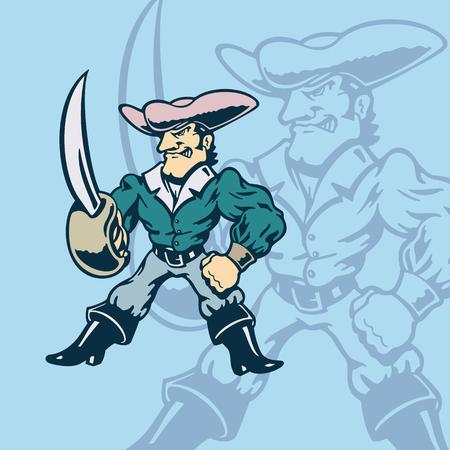 Knight of American cartoon. Vector Illustration.