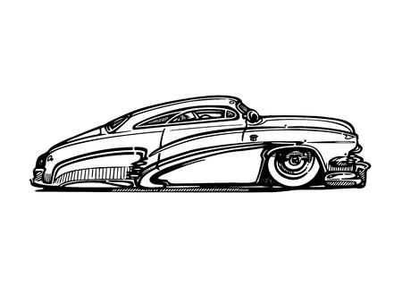 レトロなホットロッド車アート漫画イラストをベクトルします。