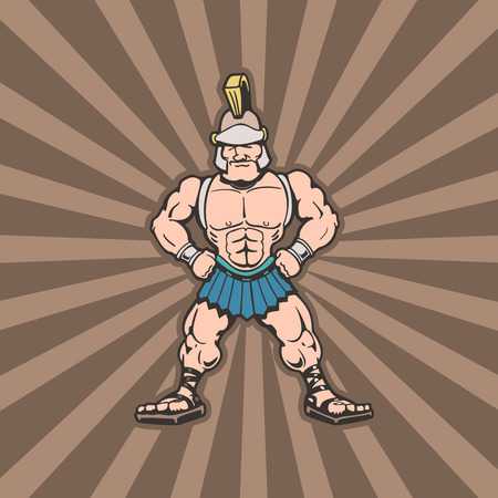 Spartan trojan cartoon character. Illustration