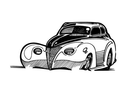 Vecteur rétro hotrod voiture clipart dessin animé Illustration. voiture vintage classique Banque d'images - 81060933