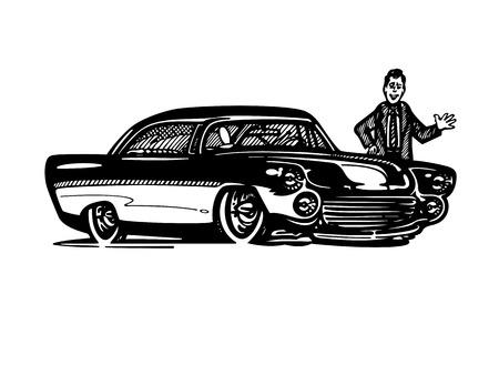Vecteur rétro hotrod voiture clipart dessin animé Illustration. voiture vintage classique Banque d'images - 81062683