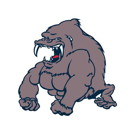 Bête forte personnage de dessin animé Gorilla. Illustration vectorielle Banque d'images - 81062684