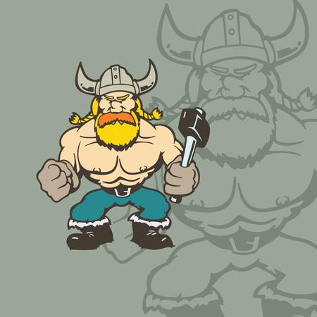 バイキングの漫画のキャラクター。  イラスト・ベクター素材