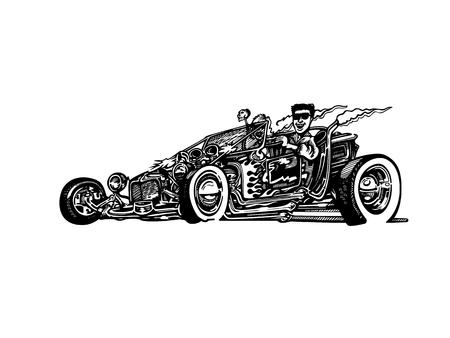 レトロなホットロッド車アート漫画イラストをベクトルします。ビンテージ クラシックカー 写真素材 - 81062700