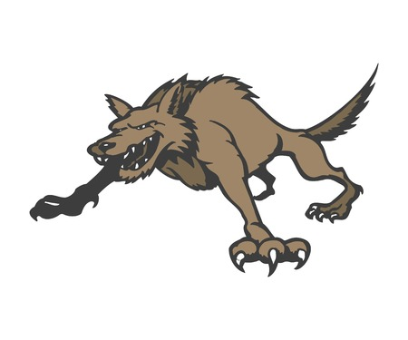 Wolf cartoon dierlijk karakter vectorillustratie.