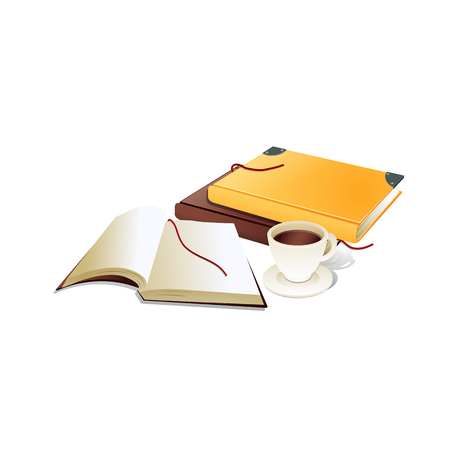 old pc: Book with ribbon bookmark and cup of coffee.