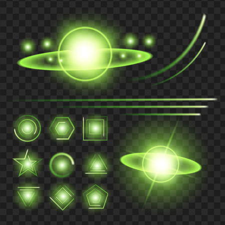 Green shine stars with glitters, sparkles icons set. Illusztráció