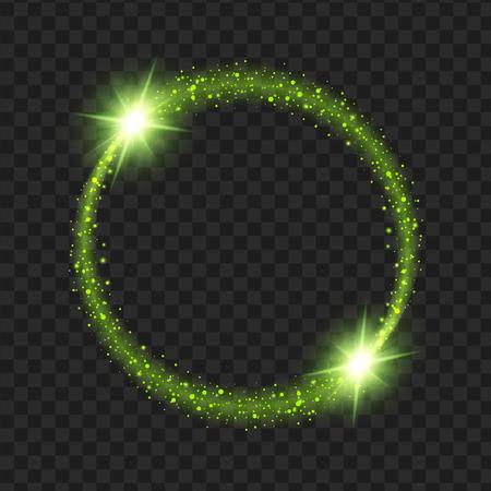 라운드 녹색 광선 조명 효과 별 반짝임 검은 배경에 고립 된 버스트. 그림 서식 파일 아트 디자인, 크리스마스 축하.