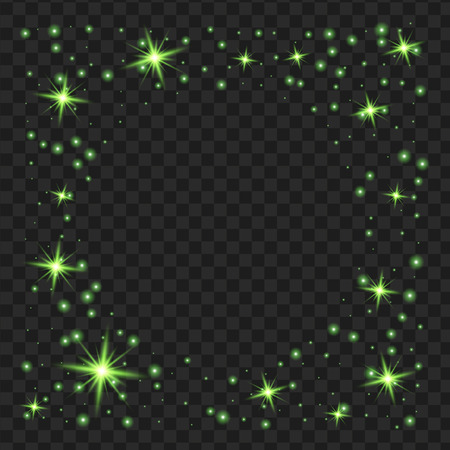 round Green glow light effect stars bursts with sparkles isolated on black background. For illustration template art design, Christmas celebrate.