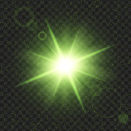 Green shine stars with glitters, Effect graphic light. Transparent design elements background. Stock fotó - 81063498