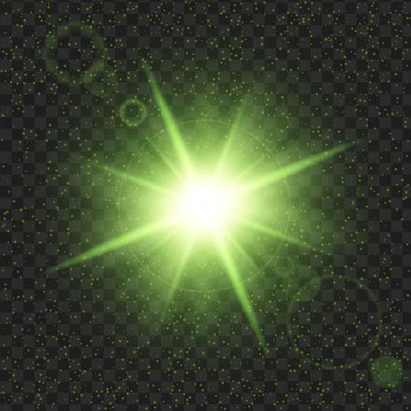 Groene glanssterren met glitters, Effect grafisch licht. Transparante ontwerpelementen achtergrond.