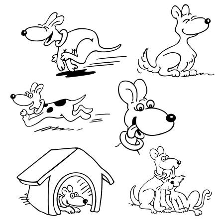 Set of dogs cartoon