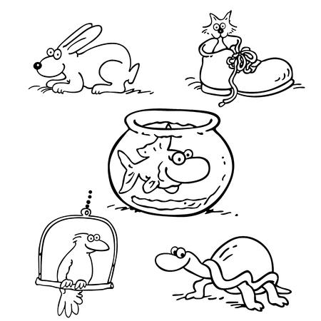 animal pet collection cartoon. outlined cartoon drawing sketch illustration vector. Stok Fotoğraf - 81063508