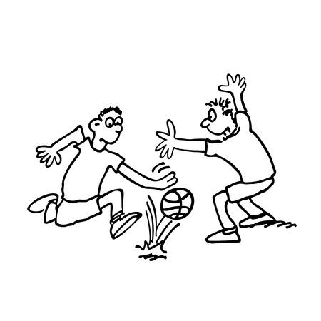 I ragazzi stanno giocando a calcio il vettore descritto dell'illustrazione di schizzo del disegno del fumetto.