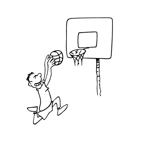 A boy playing basketball. outlined cartoon drawing sketch illustration vector.  イラスト・ベクター素材