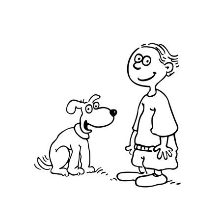 Jongen met hond geschetste cartoon handrawn schets illustratie vector. Stock Illustratie