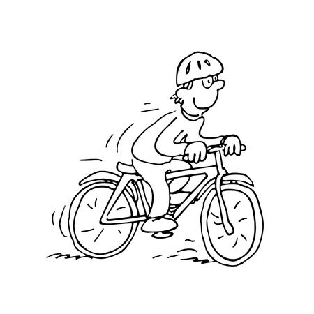 Vector illustration of Cartoon Cyclist. Illustration