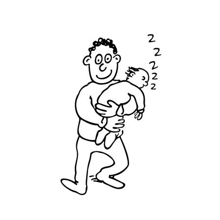 Pa houdt zijn slapende baby vast.