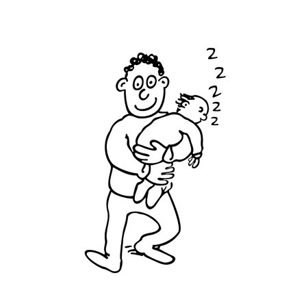 Dad is holding his sleeping baby. Illustration