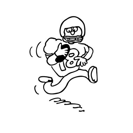 ベクトル イラスト漫画、フィールドにボールを持つアメリカのフットボール選手。  イラスト・ベクター素材