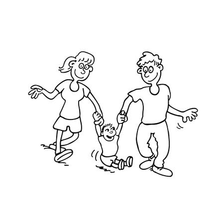 Een gelukkige familie cartoon.