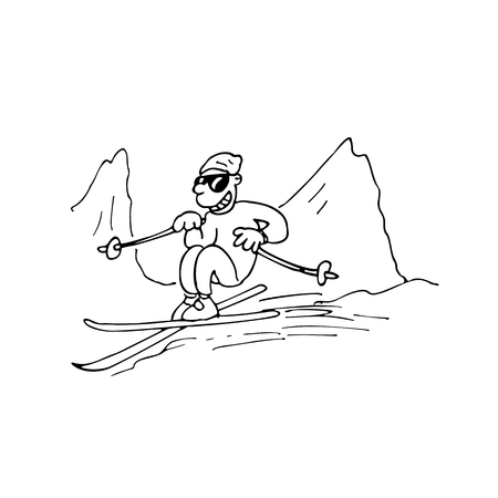montañas caricatura: hombre que juega la ilustración del snowboard. bosquejo dibujado de dibujos animados handrawn ilustración vectorial.