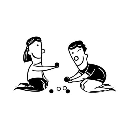 ビー玉を弾いている小さな少年。漫画のベクトル図です。 写真素材 - 81063673
