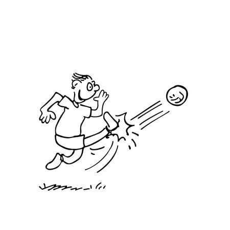 ボールを蹴る男。