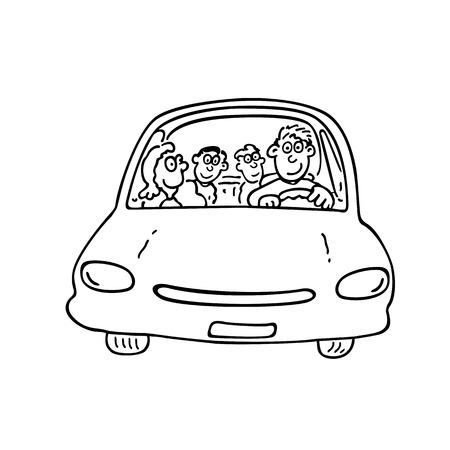 車の幸せな家族。輪郭を描かれた漫画 handrawn スケッチ イラスト。