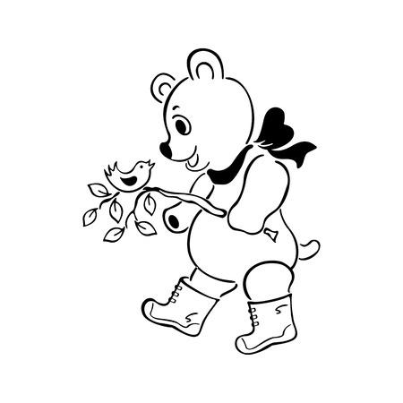 Een leuke beer geschetst de illustratievector van de beeldverhaalhand getrokken schets.