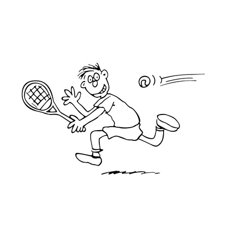 man playing tennis. outlined cartoon handrawn sketch illustration vector.