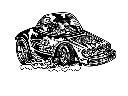 Klassieke retro hot-rod auto. Stock Illustratie