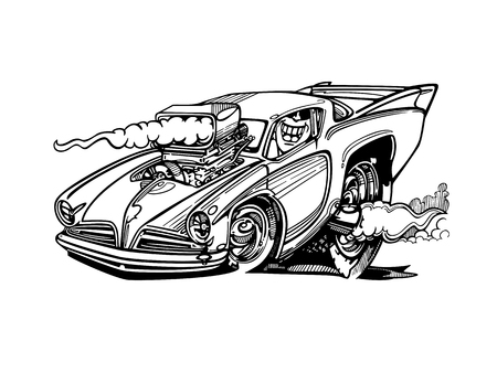 Klassisches Retro Hot Rod Auto. Standard-Bild - 81063798