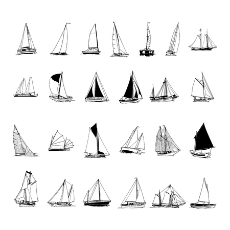sailboat collection. cartoon clipart Vector Illustration.  イラスト・ベクター素材