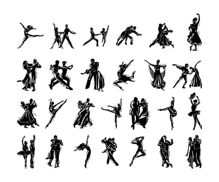 danser mensen silhouet collectie. Vector illustratie. Stock Illustratie