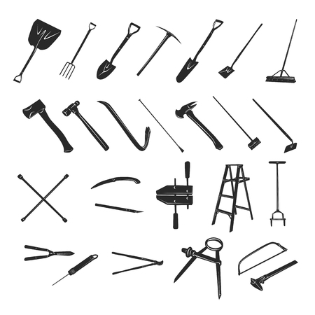 Gardening tools collection - vector silhouette Illustration