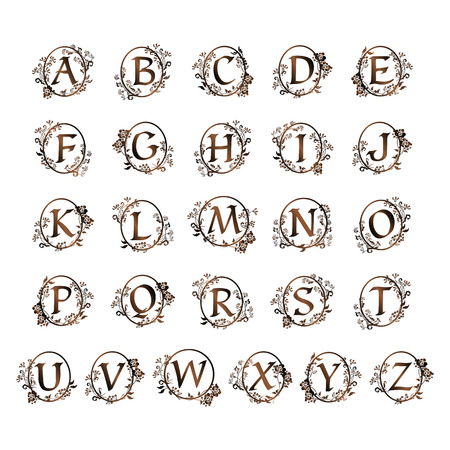 An ornamental alphabet design.