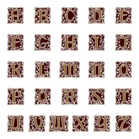 装飾文字のアルファベットのイラストです。  イラスト・ベクター素材