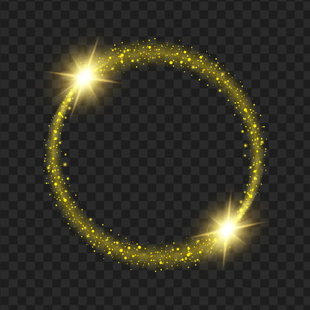 A round yellow glow light effect stars bursts with sparkles isolated on black background.