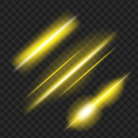黄色の輝く光の効果のセットです。