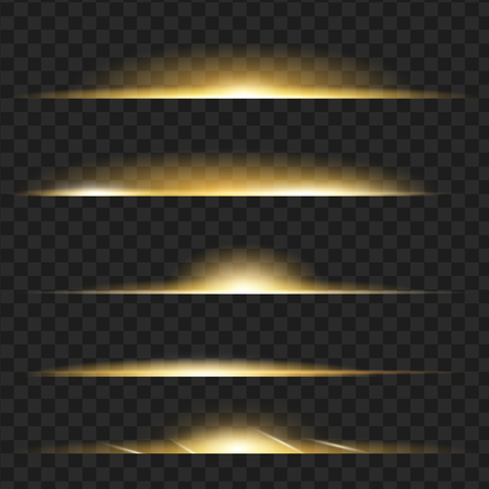 Set of yellow glowing light effect.