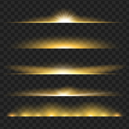 Set of yellow glowing light effect. Isolated on black transparent background. Vector illustration, eps 10.