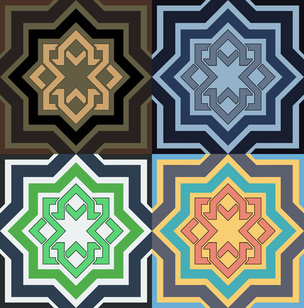 Decorative pattern in different color option vector illustration