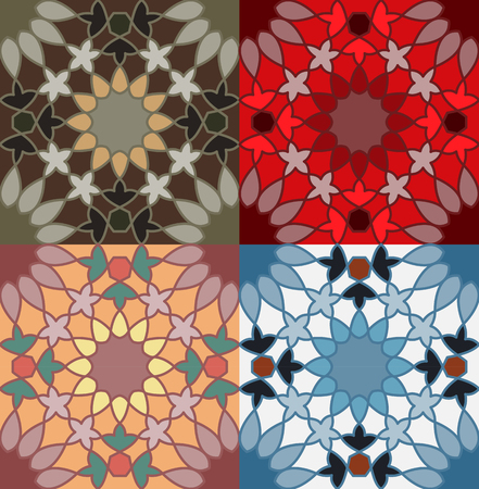 A decorative pattern in different color option vector illustration Çizim
